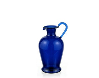 Hand Blown Glass Pitcher, Cobalt Blue