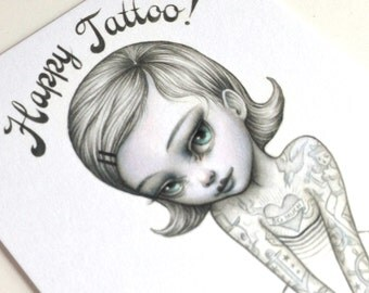 Happy Tattoo - signed 4 x 5.75 Mini Tattoo Girl Art Print by Mab Graves - unframed - open edition