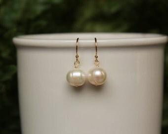 Freshwater Pearl Earrings, Gold or Silver, June Birthstone, Simple, Minimalist Earrings, White Pearl Drop Earrings, Lightweight Earrings