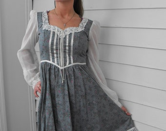 Vintage Gunne Sax Dress 70s Country Blue Floral 5 XS XXS Hippie Boho Prairie