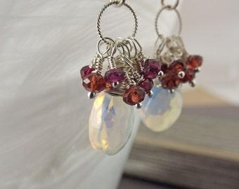 Fire Opal Cluster Earrings, Opal and Garnet Earrings, Fire Opal Earrings, Garnet Earrings, June Birthstone Earrings