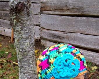 womens crochet hat flowered beanie girls crochet hat ladies hat flower hats for girls hats for women blacklight neon turquoise flower 9377