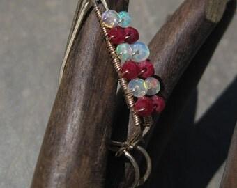 Ethiopian Opal and Ruby - 14kt Gold Filled Elegant Hoops