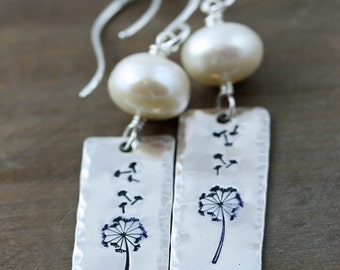 Make a Wish, Sterling Silver Dandelion Earrrings with Fresh Water Pearls on Sterling Silver Hand Made Ear Wires