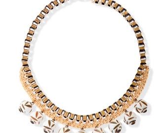 Natural Metal Statement Necklace, handmade crochet dangle necklace