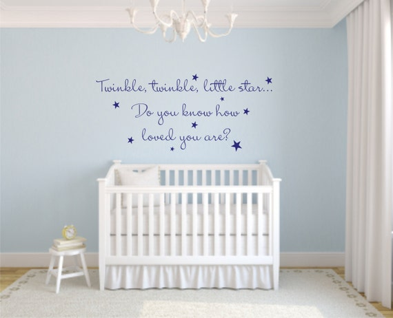 Twinkle Twinkle wall decals- Twinkle Twinkle Little Star Wall Decal - Child's Room Wall Decal  - Baby's Room Wall Decal