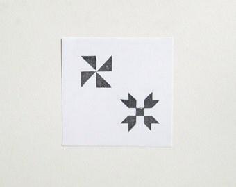 Quilt Blocks Hand-Carved Rubber Stamp Set