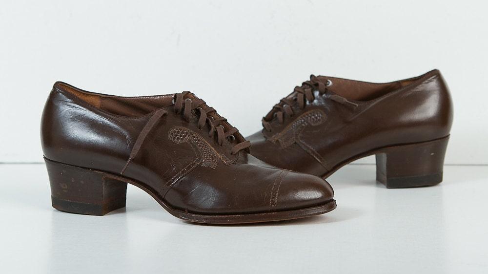 Vintage des ann es 1940 chaussures femme talons oxford - Chaussures annees 50 femme ...
