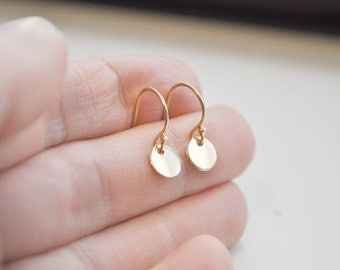 Tiny Gold Dot Earrings - gold filled disc small circle round shiny - simple everyday jewelry gift for her - bridesmaid - adenandclaire