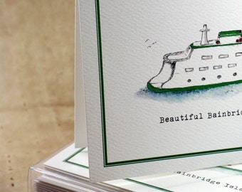 Ferry Boat Blank Notes Notecards. Bainbridge Island Thank You Notes, Set of 8. Handmade Notecards Greeting Cards Packaged