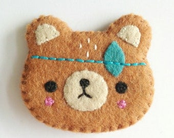 Spirit Bear Brooch-Handmade bear brooch, Tribal bear brooch
