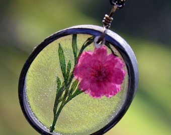 Pink Carnation and Green Fern Necklace, Resin Flower Necklace, Real Pressed Flower Jewelry