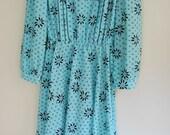 Vintage 1980s turquoise aqua mint floral print folk dress M medium L large XL long sleeve