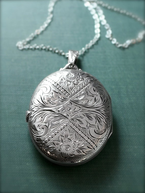Extra Large Oval Sterling Silver Locket Necklace Ornate