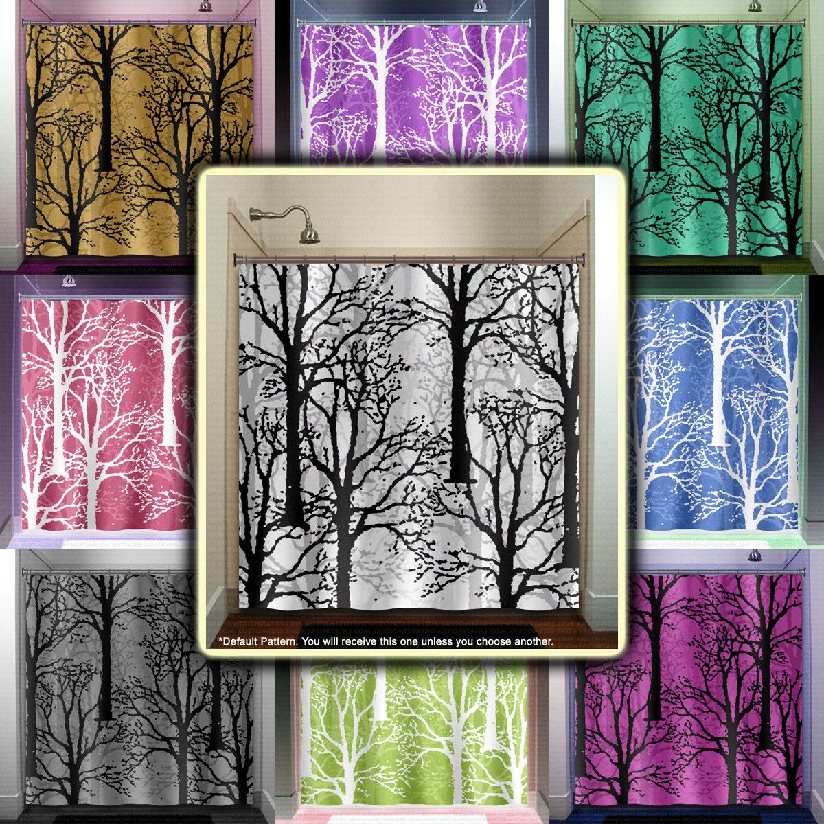 Oak forest woodland winter trees shower curtain bathroom decor for Forest bathroom ideas