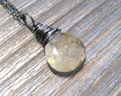 Golden Rutilated Quartz Necklace,  Sterling Silver,  Wire Wrapped,  Heart Shape Briolette
