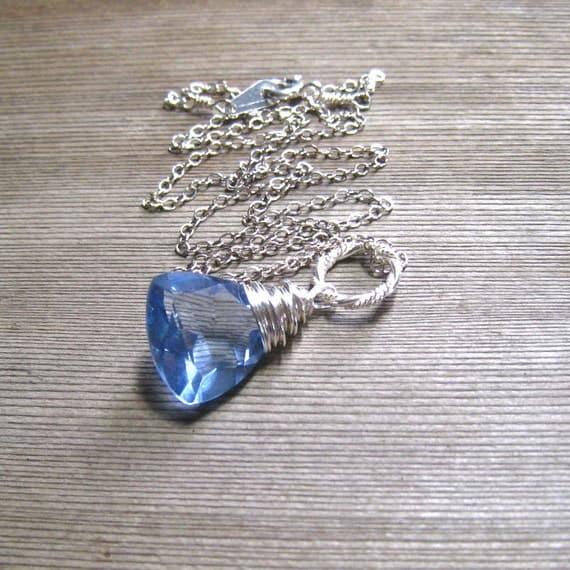 Ceylon Blue Sapphire Necklace,  Sterling Silver, Blue Stone Pendant,  September Birthstone Jewelry