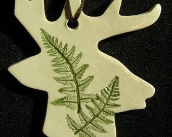 Pressed Plant Pottery Ornament, Fern, Michigan, Deer Head