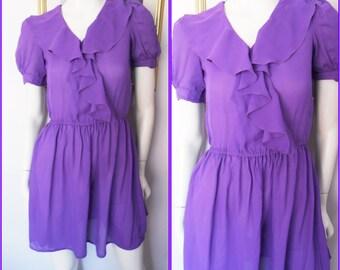 Vtg.80s Ruffle Collar Purple Sheer Chiffon Mini Dress.S.Bust 34.Waist 24-30.