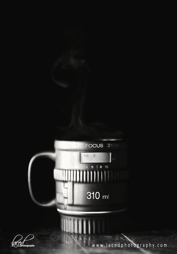 Coffee Shop Photography- Morning Coffee, java, coffee, wall decor, steam, camera, brown, black, white, camera lens