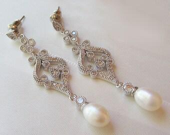Swarovski Pearl and Crystal Earrings, Chandelier Earrings, Light Ivory, Vintage Style Rhinestone Earrings - CLAUDETTE