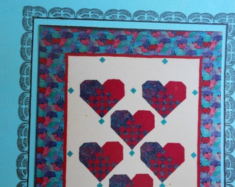 Hearts For Jessica quilt design/pattern  by Sally Dwyer  Swedish Woven/weaving fabric