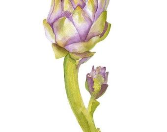 Artichoke Watercolor Painting - 11 x 14 - Giclee Print - Botanical Art