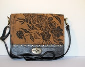 "Small Leather Messenger  In Espresso with Wildflower Print ""The Uptown"""