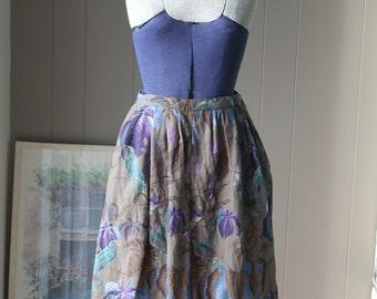 Aqua Bird Korean Sheer Wool Skirt Purple Plum Tree and Blue Flower Skirt Botanical Dirndl Taupe