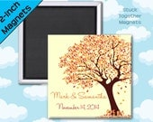 Fall Wedding Favor Magnets - Tree in Autumn Colors - 2 Inch Squares - Set of 10 Magnets