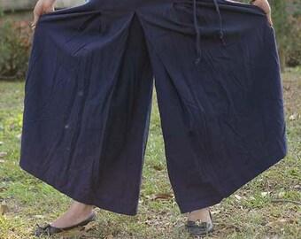 100 percent Natural cotton wide leg pants dark blue for Women Plus size SALE