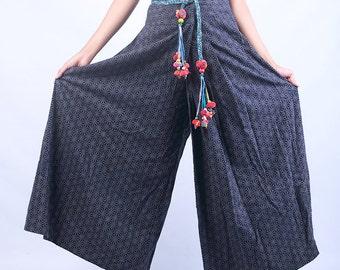100 percent hemp wide leg pants flower batik/embroidery for Women Blue