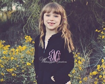 Girls Ruffles Lightweight Sweater with Monogramming - Personalized Jacket for Toddler Girls