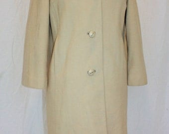 1960s Cashmere Coat Beige Tan Vintage Retro  Small MidCentury Kaufmans Theatre Play Simple Elegant Hipster Classic
