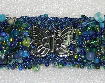 Statement Bracelet with Butterfly Clasp in Shades of Blue - Cyberlily