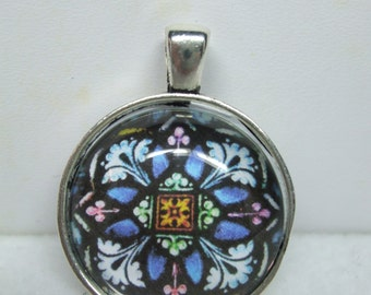 Vintage   Stained Glass  Portrait Domed Glass Necklace Pendant- Super  UNIQUE-Several Choices of Picture  Available