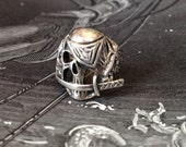 Large Man's Skull Ring 925 Solid Silver Pirate Size 8 1/2