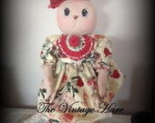 Primitive Love Bunny French Inspired Folk Art Rag Doll HaFair, AB4B, OFG,