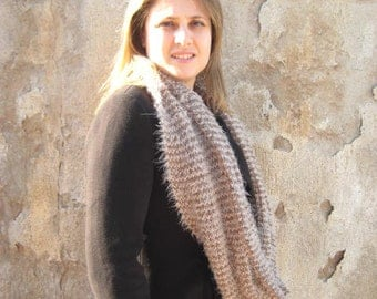 Brown Scarf - Knit Beige and Brown Cowl, Infinity Scarf - Gift for Her - Ready to Ship - Valentines Day Gift