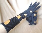 GLOVE SALE...Vintage Long Black Gloves, FABULOUS Metallic Gold Heart Appliques, Size 6, Small, 50's Style, Rockabilly, Mad Men