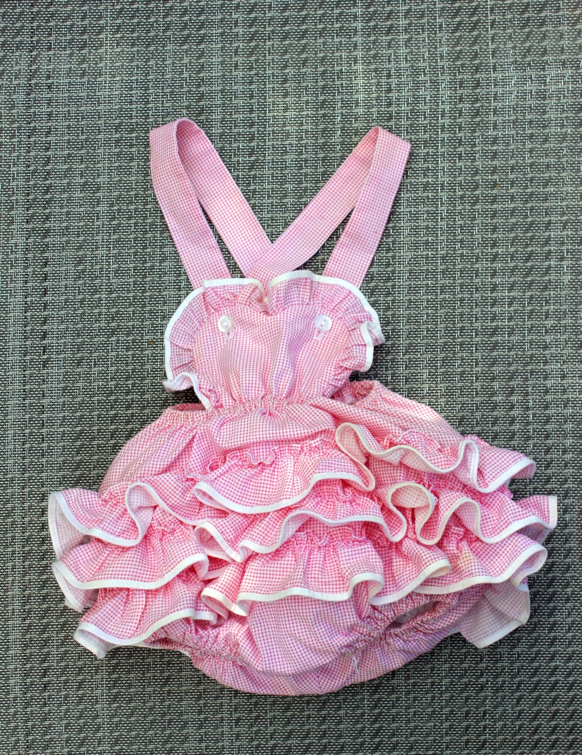 Vintage Baby Girl Romper Sunsuit Pink Gingham Ruffled