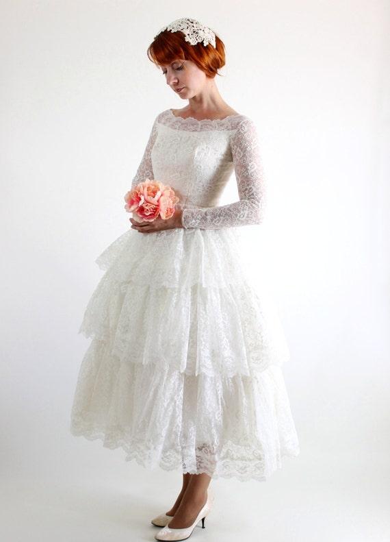 Vintage 1950s ivory lace tea length wedding dress audrey for Ivory lace tea length wedding dress
