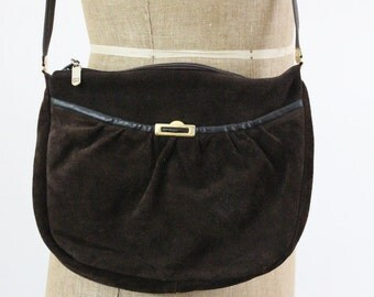 70s purse - suede leather shoulder bag - chocolate brown