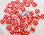 20 Button 13mm GINGHAM  Plaid  RED White, Grab Bag - Crafting -  Jewelry -  Collect (AG-6)