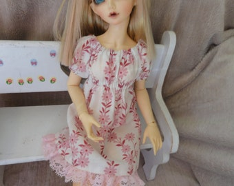 MSD BJD  Chemise Dress and Bloomers Pink Daisy