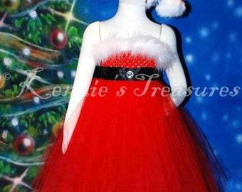 Santa Baby Empire Waist Tutu Dress With Santa Hat - Size NB to 24 Months