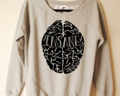 Womens Hand Printed black Insane in the Membrane Sweater