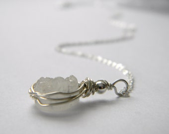 Druzy gemstone necklace. Druzy Crystal Necklace. Sterling Silver wire wrap. Sparkle Necklace. Made in Maine. Organic Necklace. White drusy