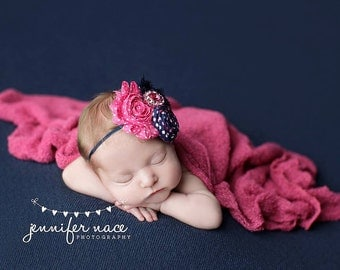 Part of the Show - hot pink and navy polka dot rosette and chiffon flower headband