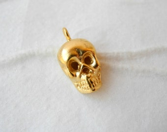 Gold Vermeil Skull Charm Pendant  Gold Vermeil Over Sterling Silver 18mm